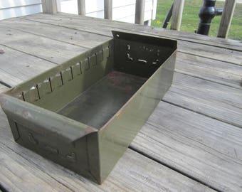 metal file drawer, industrial cabinet drawer, green metal file box, garden planter, desk tray, card box, metal planter, salvage metal drawer