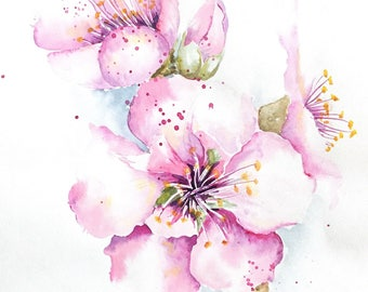 Pink Blossom Painting, Colorful Watercolor Gift Idea, Pink Blossom Wall Art, Cherry Blossom Home Decor, Sakura Painting