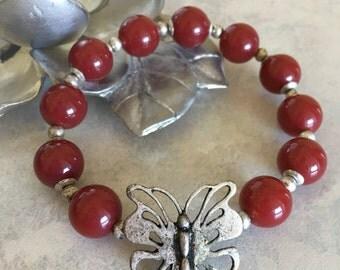 Red Glass Beaded Bracelet, Butterfly Bracelet, Stretch Bracelet, Gifts Under 15, Silver Butterfly Bracelet, Dark Red Beads, Beaded Bracelet