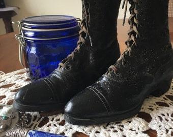 Antique Black Leather Children's Lace Up Shoes, Victorian Black Leather Lace Up Shoes, Prize Scholar Antique Boots, Victorian Lace Up Boots