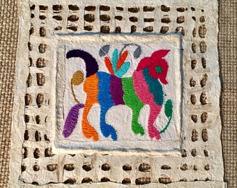 Otomi wall art  amate barked paper with embroidered Tenango  the framed one is just a sample