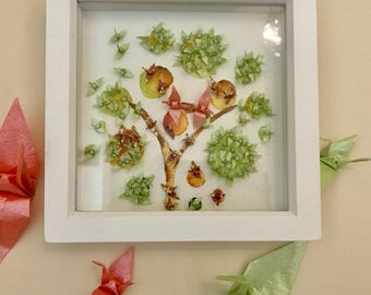 Origami Crane & Watercolour Tree of Life Framed Picture