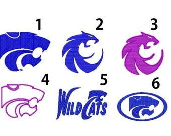 6 Designs, Kansas State Logo Embroidery Design, Instant Download, 4x4 Hoop, 8 Formats, Wildcats Logo Embroidery Design