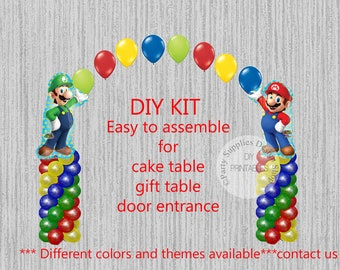 Super Mario Brothers Birthday Balloons, Super Mario Bros Luigi Cake Table, Gift Table, Entrance Party Decorations, DIY KIT easy to assemble
