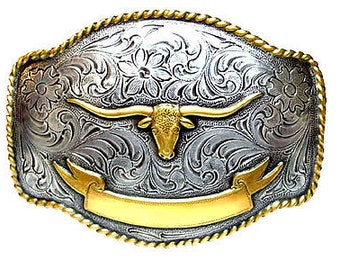 Mens belt buckle Western Longhorn Belt Buckle Rodeo Trophy Award Style Vintage Belt Buckle Men's Western Large Belt Buckle Gold Silver plate