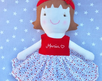 Personalised rag doll: Personalized baby girl gift - Soft baby doll - Felt doll - Fabric doll - Handmade rag doll - Stuffed doll with name