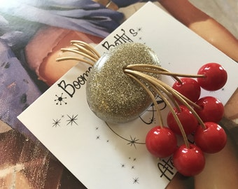 Gold Shimmery Brooch with Red Berries