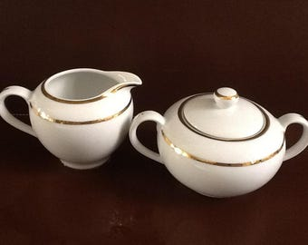 "Elegant ""Bistro Gold"" cream and Sugar Set by Danica"