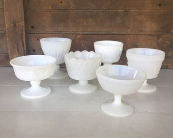 6 Vintage Milk Glass Compotes, Sherberts, Small Planters, Candle Holder, Votive Holder, Centerpiece, Wedding Decor, Cottage Style, Rustic