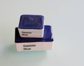 Handmade Watercolor paint Babbler Blue artist paint HALF and WHOLE pans - Non toxic