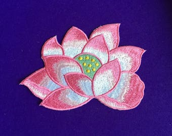 Lotus flower iron on patches / large lotus patch