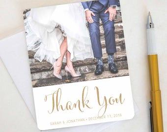 Fun Flip Wedding Thank You Card, Custom Photo Wedding Thank You Cards Gold Foil Wedding Thank You Cards Vintage Gold Foil Wedding Sarah9