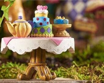 Fairy Garden Table - Fairy Garden Decor - Alice in Wonderland - Fairy Garden miniatures -  Garden Miniatures - Tea Party Fairy Garden