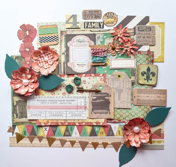 Boho Family Scrapbooking Kit: Handmade Flowers, Tags, Ephemera, Tim Holtz, Glitter Pennant Banner, Crate Paper, Photo Mats in Red & Green