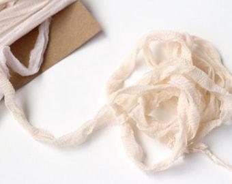 Hand Dyed Silk Ribbon, Sari Silk Ribbon, Hand-Dyed Ribbon, Beige Recycled Chiffon Silk, Wedding Stationery, Bridal Bouquet, Wedding Decor