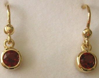 Genuine Solid 9ct Yellow Gold January Birthstone Garnet Hook Earrings