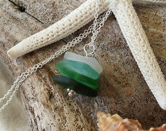 Genuine surf tumbled  sea glass necklace. Handmade in Hawaii, Sea glass jewelry.