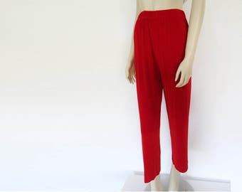 Red Trousers, Ladies, Plus Size, XL, Wide Legged, Boho, Pants, Vintage Clohing, 1990s, Red Pants
