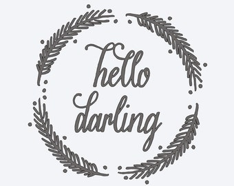 hello darling vinyl stencil for kitchen or dining wall decor