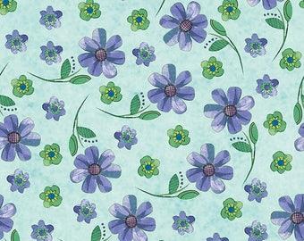By The HALF YARD - Daisy Dance by Sue Zipkin for Clothworks, Pattern #1875-32 Purple Flowers on a Light Tonal Aqua Blue