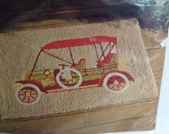 Vintage Aunt Lydia's Antique Car Punch Needle rug or wall hanging. No. 620