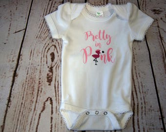Pretty In Pink, Flamingo Bodysuit, Girl Teeshirt, Baby Gift, Baby Announcement, Baby Shower Gift, Summer Birthday Gift, Onesie, Handmade