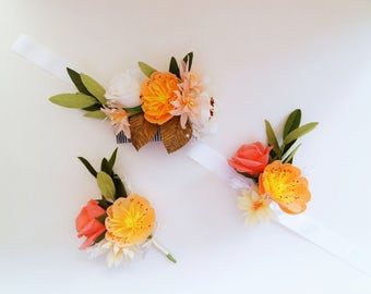 Wedding Service custom made *free shipping* Boutonnière, Flower Corsage, headpiece, hair accessories, bridal bouquets, arrangements & more!