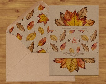 Autumn Watercolour Leaves Belly Bands and Envelope Liners - Autumn Wedding - Fall Wedding - Wedding Invitation Extras - Wedding Stationery