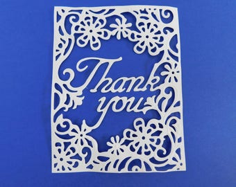 Paper Die Cut Thank you Fancy Die Cuts Card Making Scrapbooking Paper Crafting A2 Size Delicate Floral Die Cuts Many Color Choices