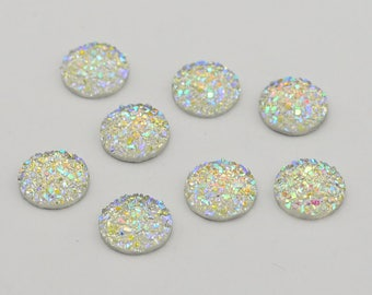 50pcs 12mm Drusy-Faux Druzy Cabochons Resin Cabo Rhinestone Embellishment Jewelry Flatback Earring Findings Cameo Setting Supply ZY-09