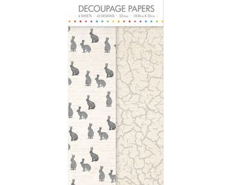 Hares Pattern Decoupage Papers x 4 - Simply Creative