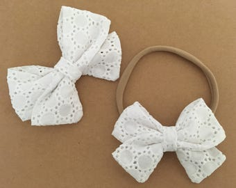 Signature Bow in White Circle Eyelet - Girls Fabric Bow - Baby Girl Headband - Toddler Bow - Choose Nylon Headband or Clip
