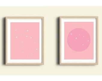 PRINTABLE nursery set, pink wall art set, baby pink, 2 prints, set of prints nursery, baby wall art, baby girl prints, girl, teen room decor