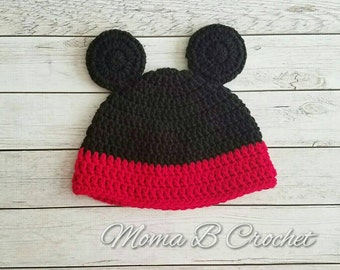 Crochet Mickey Mouse Hat, Mickey Mouse Hat, Baby Mickey Mouse Hat, Crochet Mickey Hat