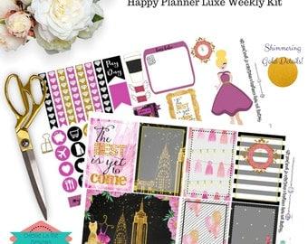 MAMBI Happy Planner Weekly Sticker Set - Luxe New Years Eve - Black, Gold & Pink - Planner Girl - Cherie La Vie Designs