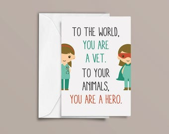 Vet Card, Thank you card, Hero Card, Male Vet, Female Vet.