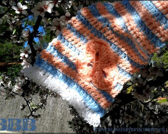 Adult Scarf. Baby Blue and Peach stripes with Skull Motif