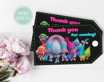 Birthday thank you tag, Trolls thank you tags, Trolls favor tags, Trolls gift tags, Birthday favor tag, Birthday gift tag, Trolls birthday