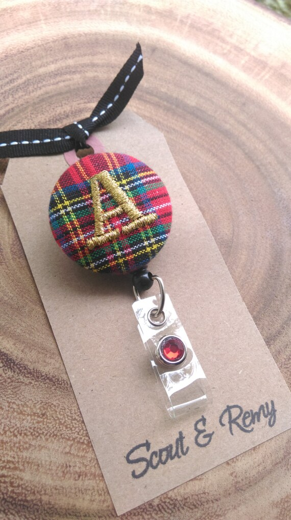 Tartan Plaid Monogram Retractable Badge Reel - Red Royal Stewart / Scout and Remy