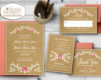 Elegant Barn wedding invitation, Rustic Wedding Invitation Set, Kraft Paper wedding invite, Barn wedding, White ink invitation, Floral wed