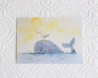 Whale art print, Nautical Nursery decor, Nursery art print, Wall art