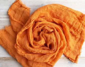 Orange Linen Scarf, Light Scarf, Orange Scarf Linen, Eco friendly Scarf, Scarf for Her, Boho Scarf, Pure Linen Scarf, Wrinkled Scarf Orange