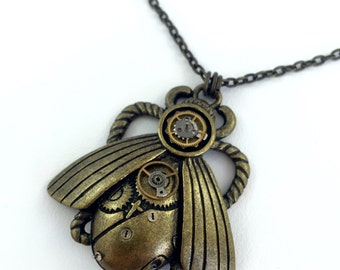 Steampunk Beetle Pendant on short chain