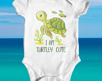 I'm Turtley Cute Baby Bodysuit | Cute Baby Clothes | Funny Baby Bodysuit | Baby Shower Gift | Newborn Baby Clothes | Turtle Baby Bodysuit