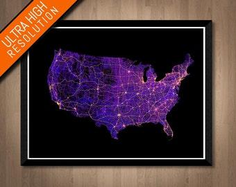 Roads of the USA map art   Printable America map print, USA print, America poster, USA art, America wall art, United States map, America art