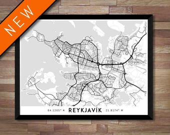 Every Road in Reykjavík map art | High-res digital Iceland map print | Reykjavik print | Reykjavik art | Wall art print | Unique gift idea