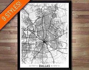 Every Road in Dallas map art | High-res digital Texas map print, Dallas print, Dallas poster, Dallas art map, wall art, Dallas gift idea