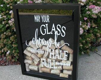 Wine Cork Holder, Wine Cork Shadow Box, Cork Frame, Wine Shadowbox, Cork Holder, Wine Lover's Gift Idea 11x14