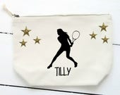 Girl Tennis Make Up BagCosmetic BagAccessory BagPouch Girls Tennis Gift Gift for HerToiletry BagTeen Gift Female Tennis Player