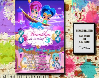Shimmer And Shine Invitation / Shimmer And Shine Birthday / Shimmer And Shine Birthday Invitation / Shimmer And Shine Party Invitation